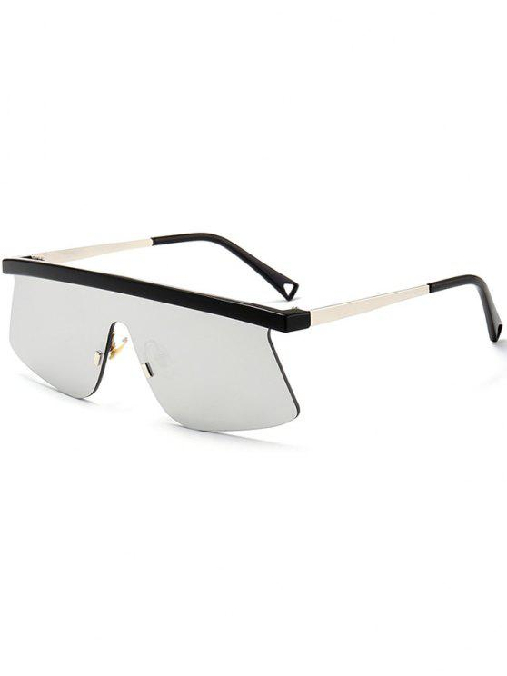 Semi Rimless Shield Mirror Sunglasses - Prateado