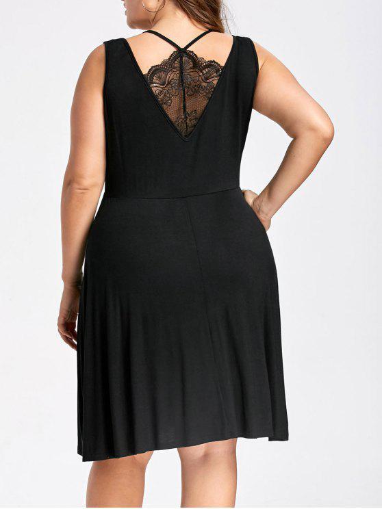 Vestido sin mangas de patrón de encaje sin mangas de talla grande - Negro 3XL