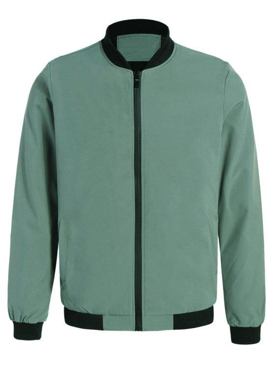 trendy Embroidered Contrast Trim Bomber Jacket - PEA GREEN 2XL