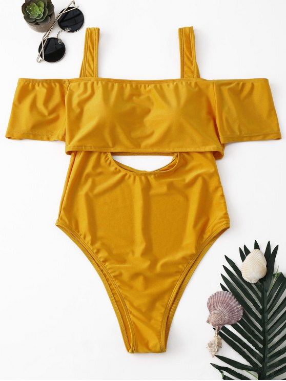 a10ebd996 23% OFF  2019 High Cut Two Piece Swimsuit In YELLOW
