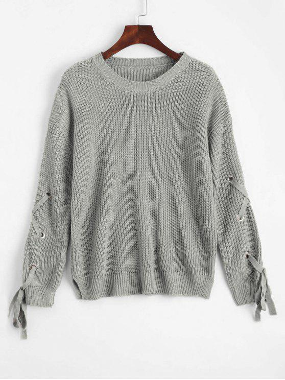 Weiter Pullover mit Schnürsenkel und seitlichem Schlitz - Grau Eine Größe