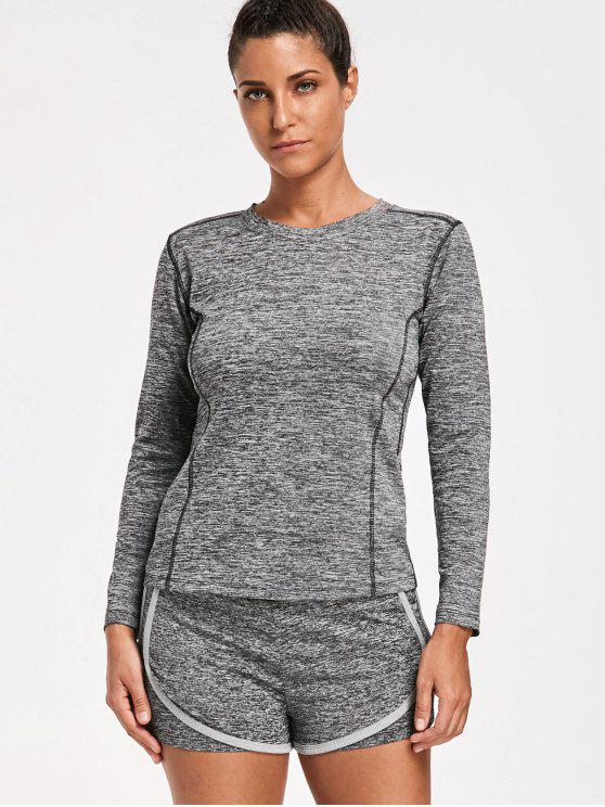 lady Perspire Heathered T-shirt with Short Gym Suit - GRAY XL