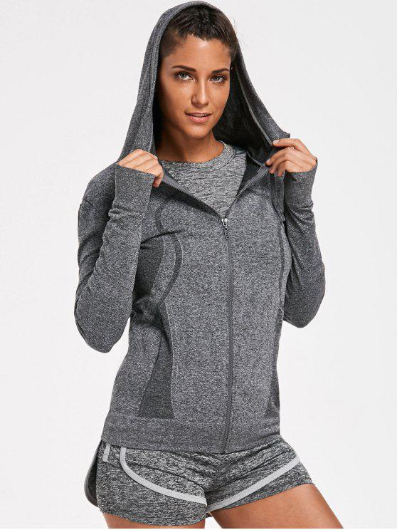 Sporty Perspire Heathered camiseta con el cortocircuito con la sudadera con capucha - Gris M