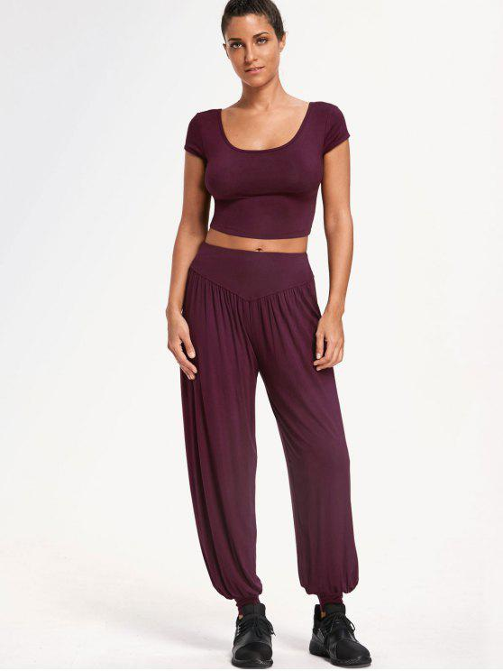 fashion Cropped Top with Bloomer Pants Gym Suit - PURPLISH RED L