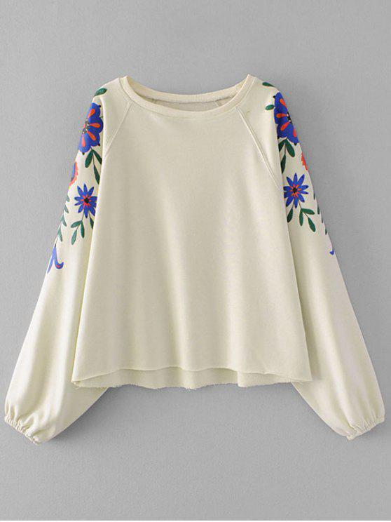 Sweatshirt mit Dolman Ärmel und Blumen Grafik - Beige (Weis) S