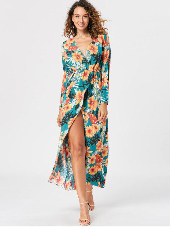 Slit Sleeve Overlap Maxi Surplice Dress - Verde do Lago L
