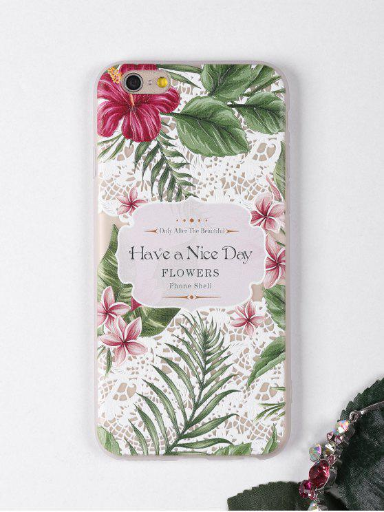 Tropical Leaf flores patrón teléfono caso para iphone - Blanco PARA IPHONE 6 / 6S