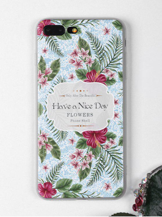 Étui de téléphone à motif de fleurs tropicales pour iPhone - Bleu Léger  POUR IPHONE 7 PLUS