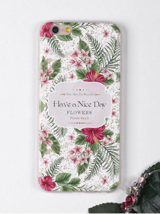 Caixa de telefone padrão de flores tropicais para Iphone - Branco Para IPHONE 6 / 6S