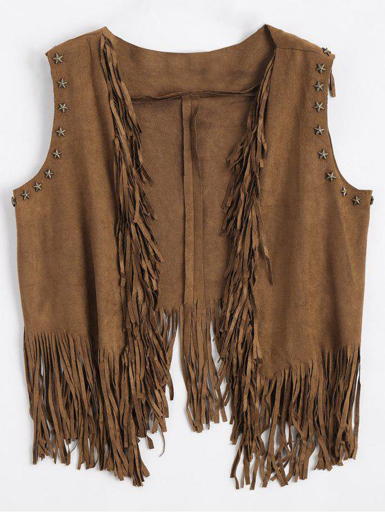 affordable Asymmetric Fringed Draped Waistcoat - DEEP BROWN ONE SIZE