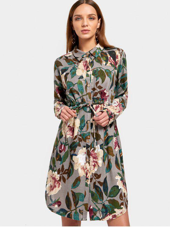 sale Button Up Floral Print Shirt Dress - FLORAL L