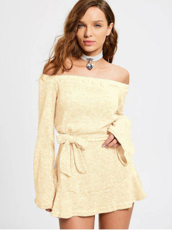 outfits Off The Shoulder Belted Mini Dress - PALOMINO S