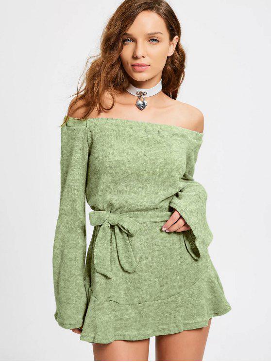 trendy Off The Shoulder Belted Mini Dress - SAGE GREEN S