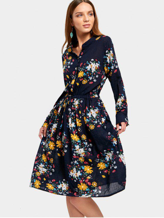 chic Drawstring Waist Long Sleeve Flower Dress - FLORAL M