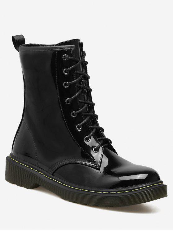 Cravatta in pelle di caviglia di pelle brevettata - Nero 40