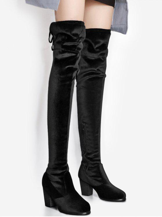 trendy Pointed Toe Chunky Heel Over The Knee Boots - BLACK 38