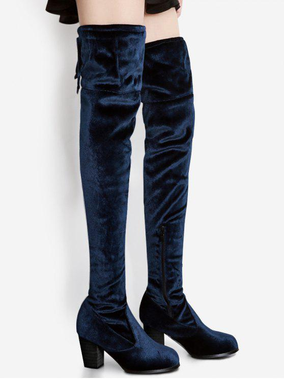 fancy Pointed Toe Chunky Heel Over The Knee Boots - BLUE 39