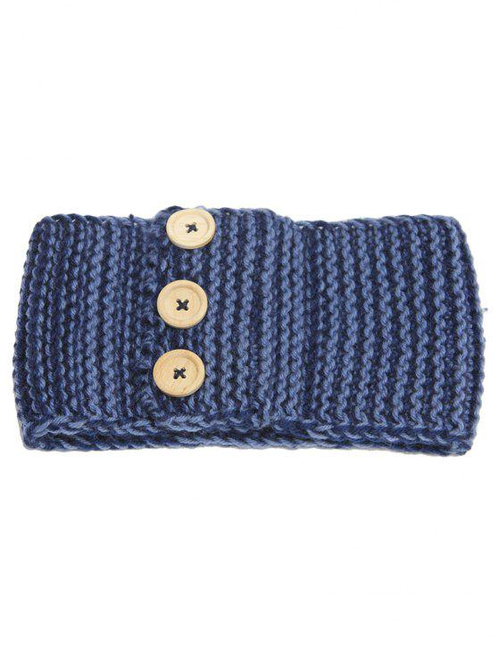 Warm Crochet Button Elastic Hair Band - Cadetblue