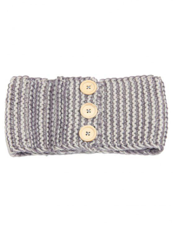womens Warm Crochet Button Elastic Hair Band - GRAY