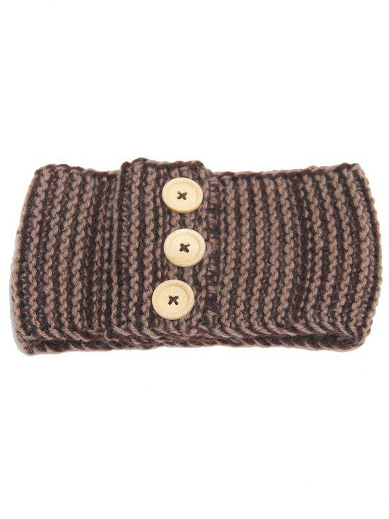 women Warm Crochet Button Elastic Hair Band - KHAKI
