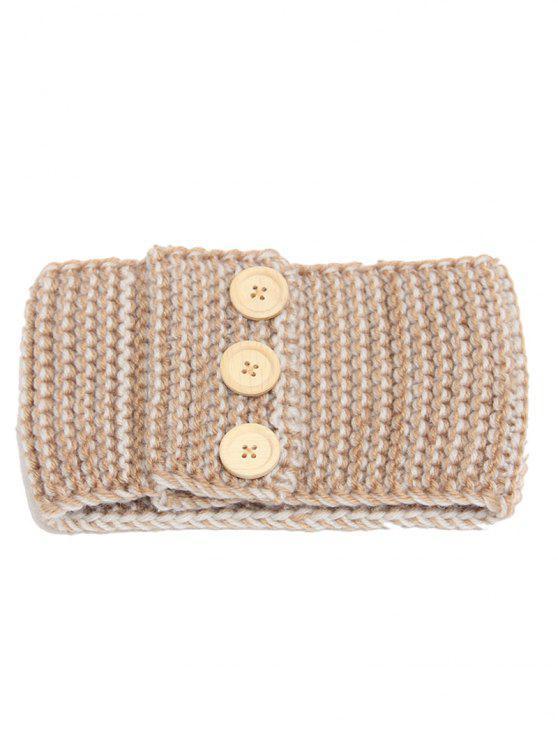 Warm Crochet Button Elastic Hair Band - Camelo
