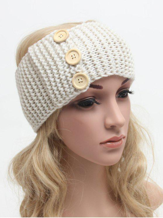 ladies Warm Crochet Button Elastic Hair Band - OFF-WHITE