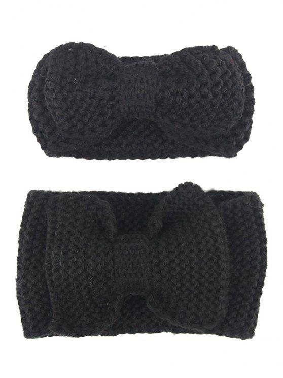 Bows Crochet Mãe e Kid Elastic Hair Band Set - Preto