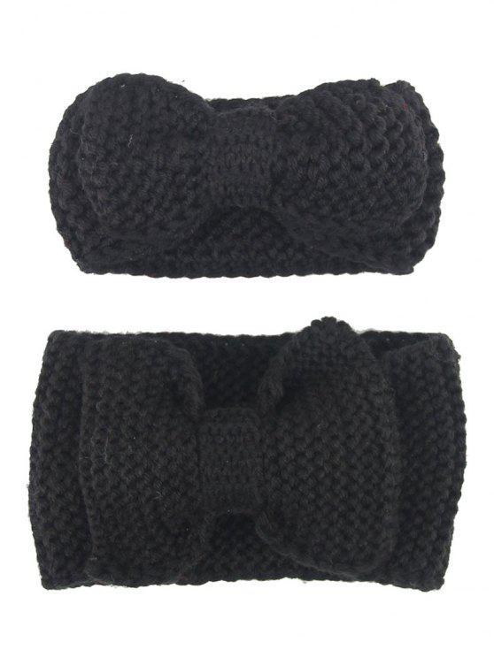 Bows Crochet Mãe e Kid Elastic Hair Band Set - Preto