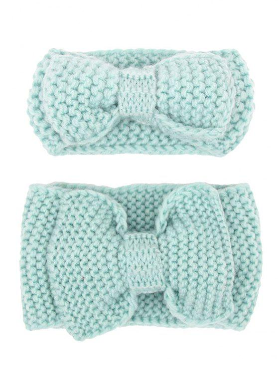Bows Crochet Mamá y Kid Elástico Hair Band Set - Lago Azul