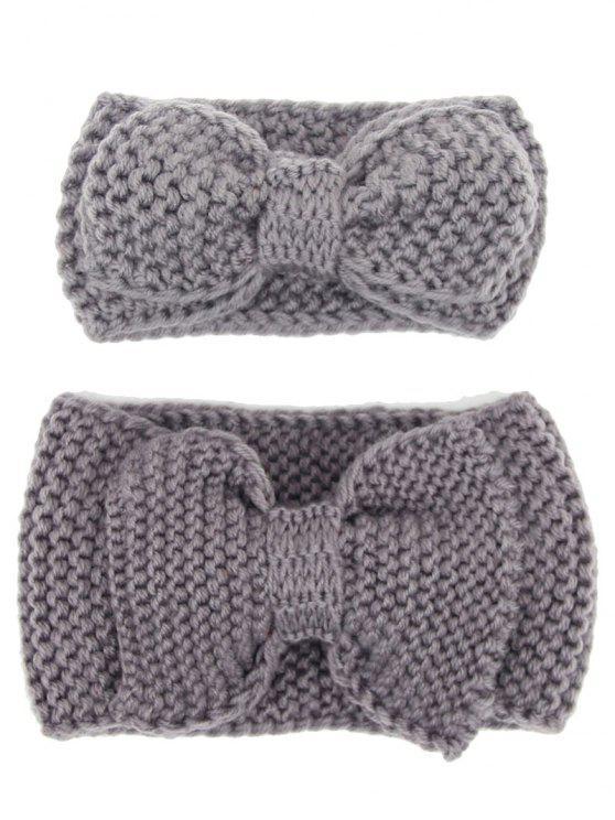 outfit Bows Crochet Mom and Kid Elastic Hair Band Set - GRAY