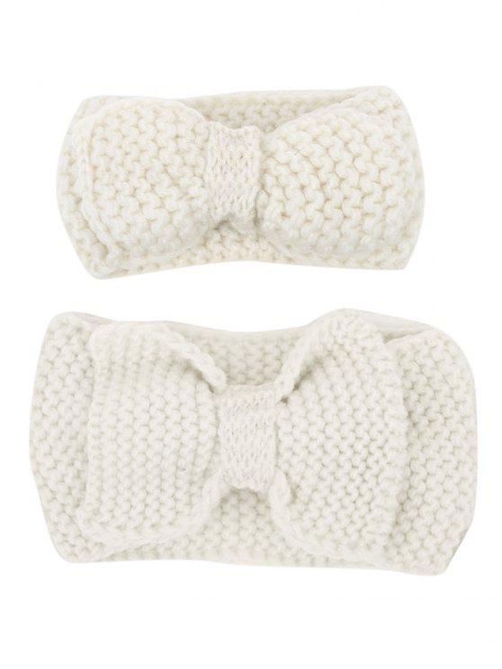 shops Bows Crochet Mom and Kid Elastic Hair Band Set - OFF-WHITE