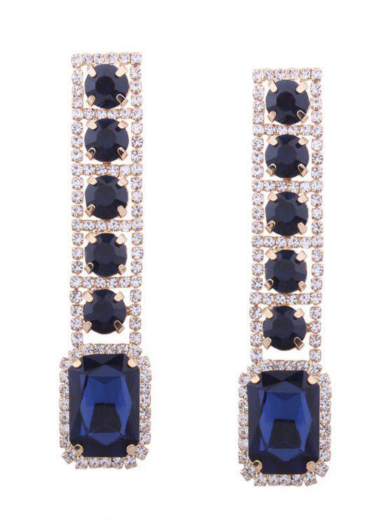 Rhinestone Faux Gem pendientes geométricos brillantes - Azul