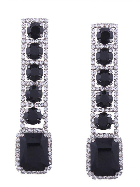 Rhinestone Faux Gem Sparkly Geometric Earrings - Preto