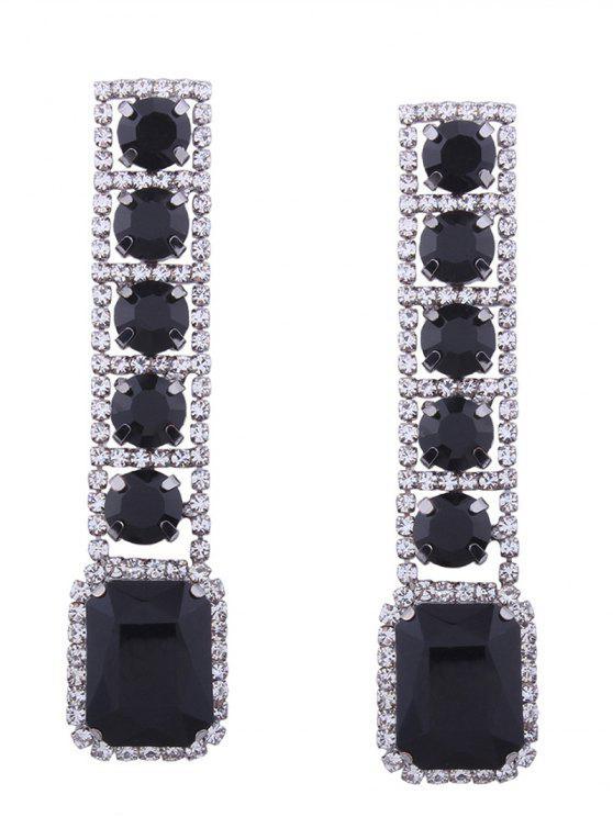Strass Faux Edelstein Sparkly Geometrische Ohrringe - Schwarz
