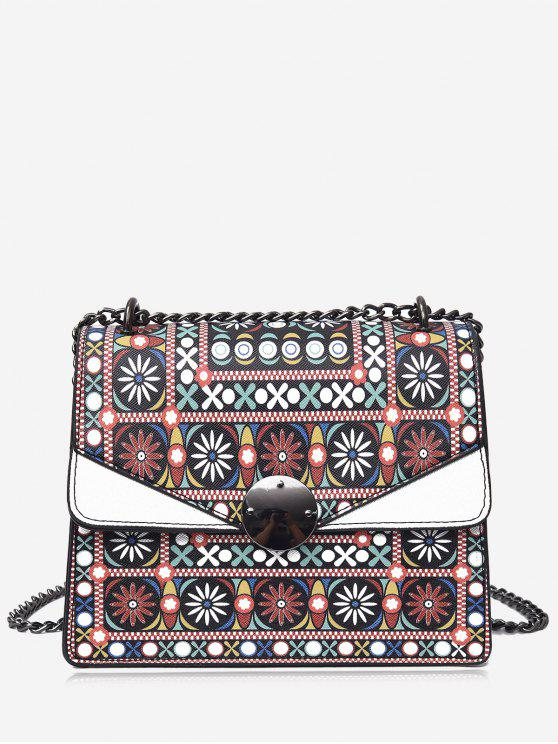 Cadeado Tribal Print PU Leather Crossbody Bag - Branco