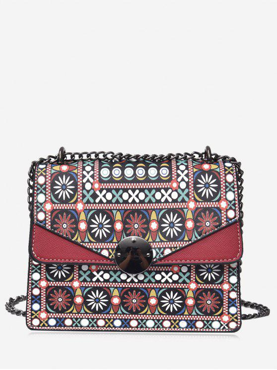 fashion Chain Tribal Print PU Leather Crossbody Bag - RED