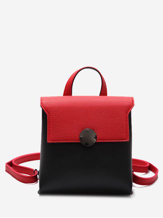 Mini mochila de color de piel de imitación de cuero - Rojo