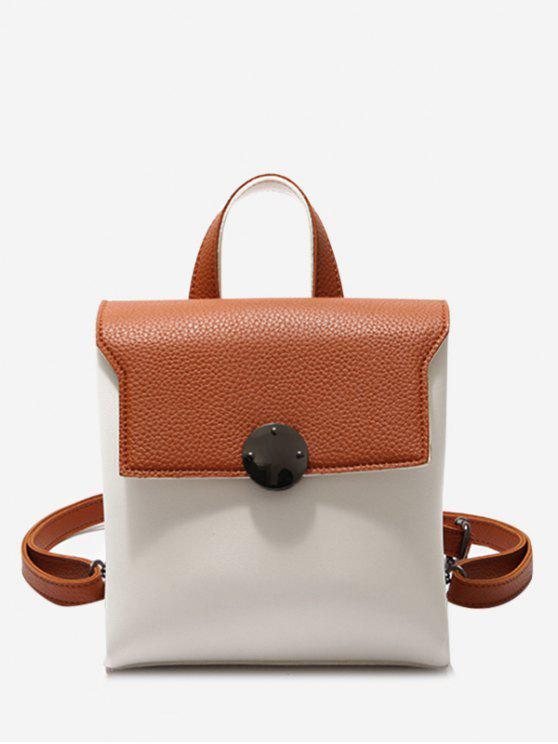womens Color Blocking Faux Leather Mini Backpack - BROWN