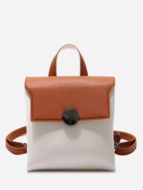 Mini-mochila de couro com fatia de cor - Marrom
