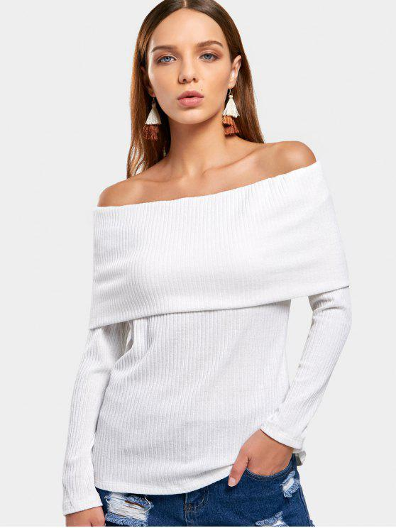 women Off The Shoulder Plain Knitted Top - WHITE S