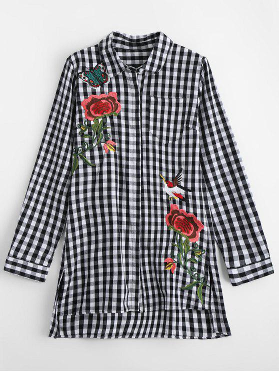new Side Slit Checked Embroidered Shirt - CHECKED M