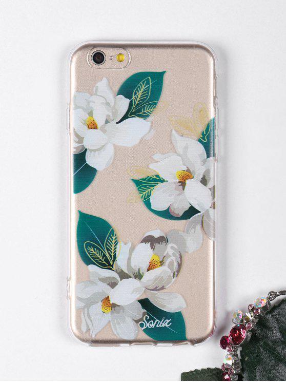 الزهور نمط ورقة حالة الهاتف لفون - أبيض آيفون 6 / 6S
