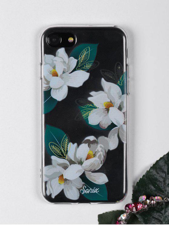الزهور نمط ورقة حالة الهاتف لفون - أبيض على اي فون 7