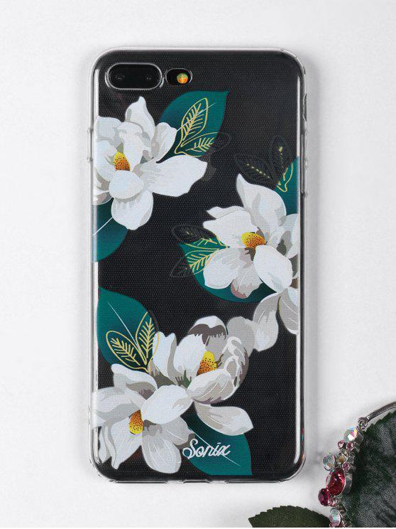 outfits Flowers Leaf Pattern Phone Case For Iphone - WHITE FOR IPHONE 7 PLUS
