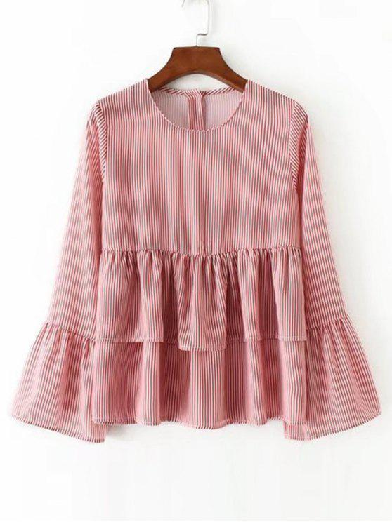 Flounces Flare Sleeve Stripes Blouse - Rayure S