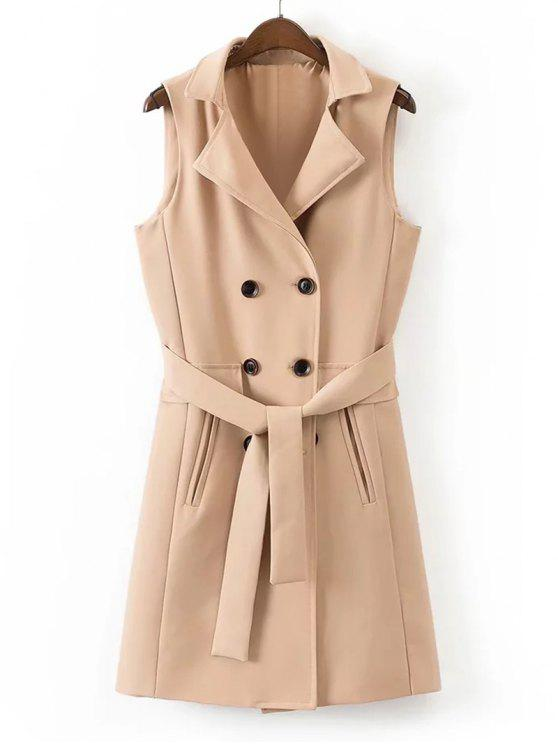 Belted Back Slit Double-breasted Weste - Khaki M
