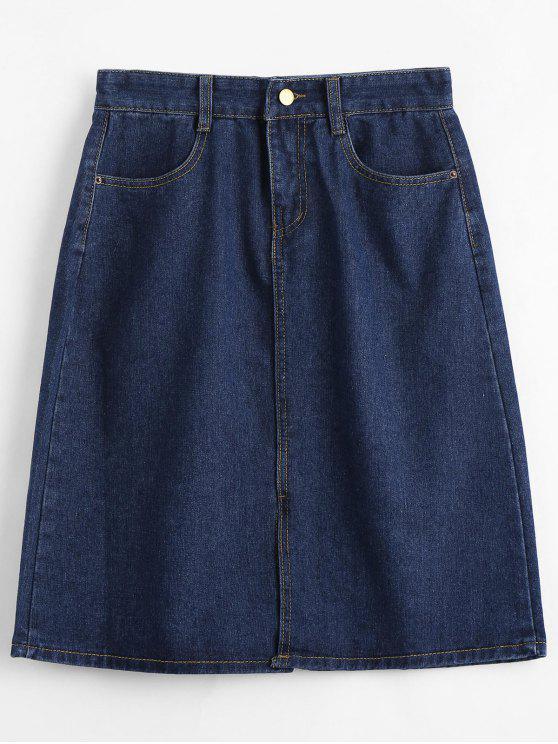 Falda de dril de algodón de longitud de rodilla - Azul Claro S