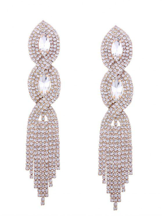 Rhinestoned Faux Crystal Chandelier Boucles d'oreilles - Or