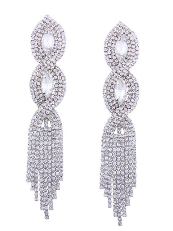 Rhinestoned Faux Crystal Chandelier Earrings - Prata