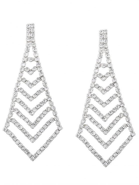 Rhinestone Geometric Party Sparkly Earrings - Argent